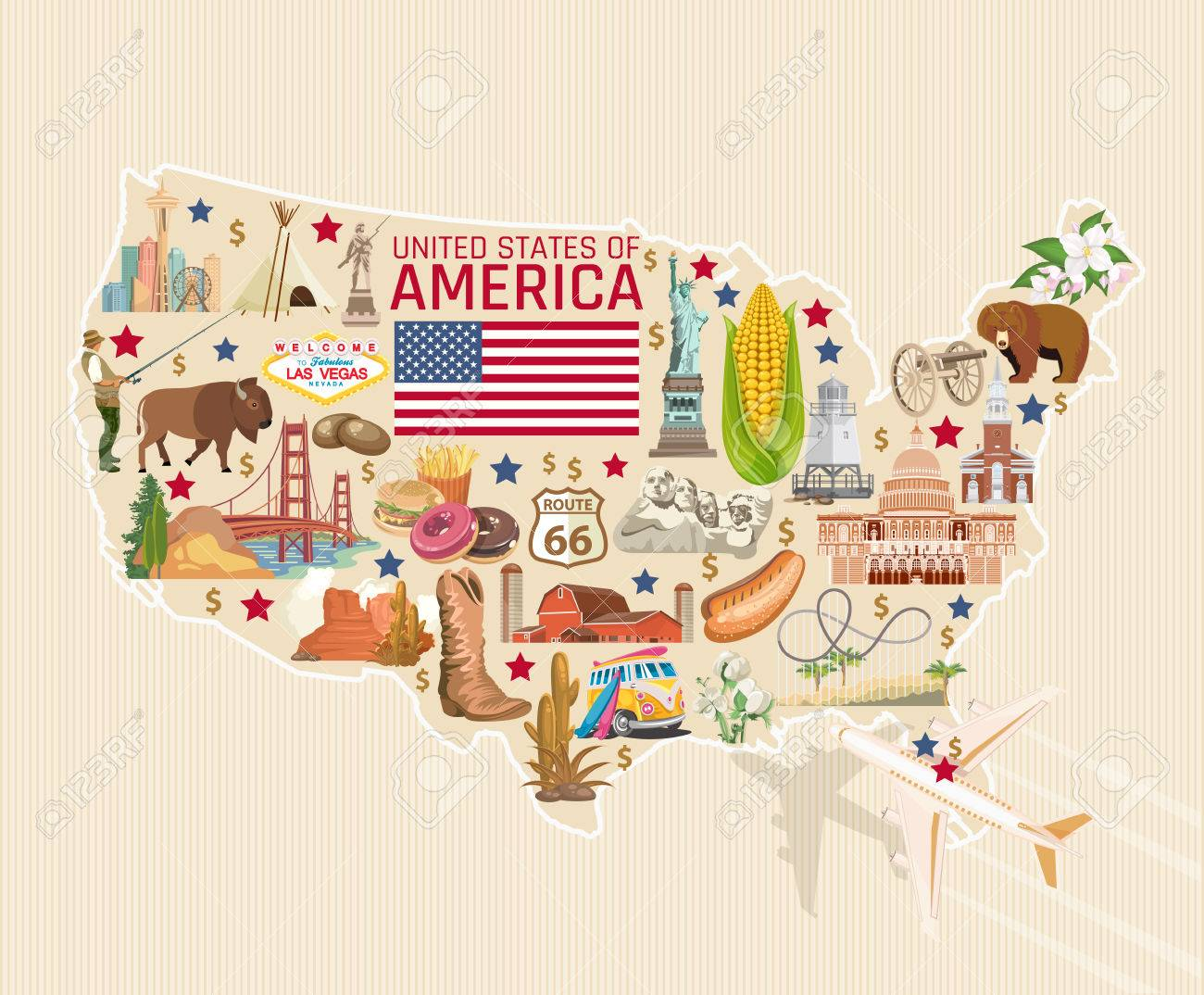 Welcome to USA. United States of America poster. Vector illustration about travel - 81792323