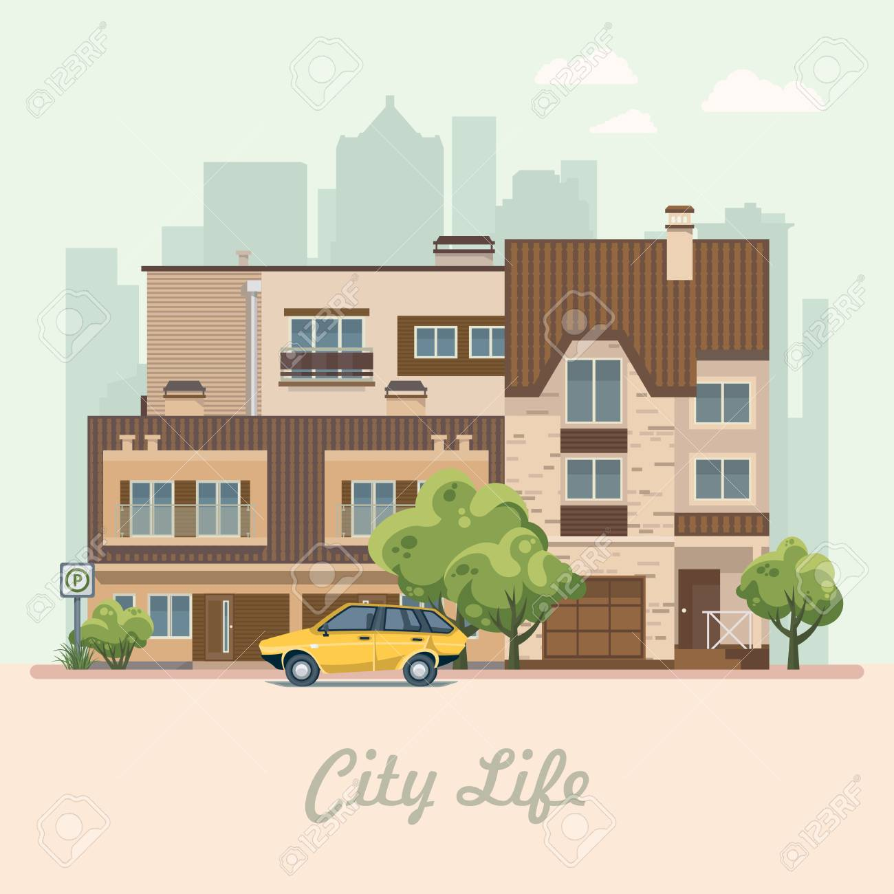 City life  Vector illustration with buildings, detached house,