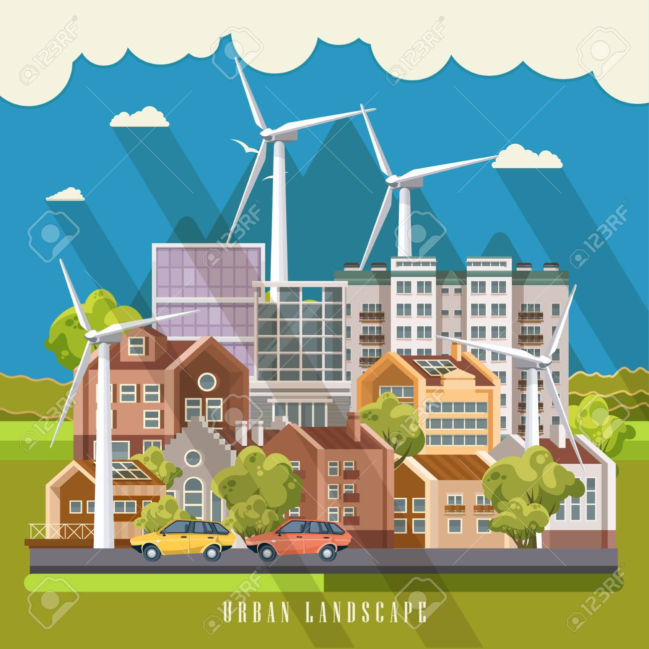 Green city vector concept. Infographic with set of buildings, infrastructure, modern technology and plants. Archivio Fotografico - 83385643