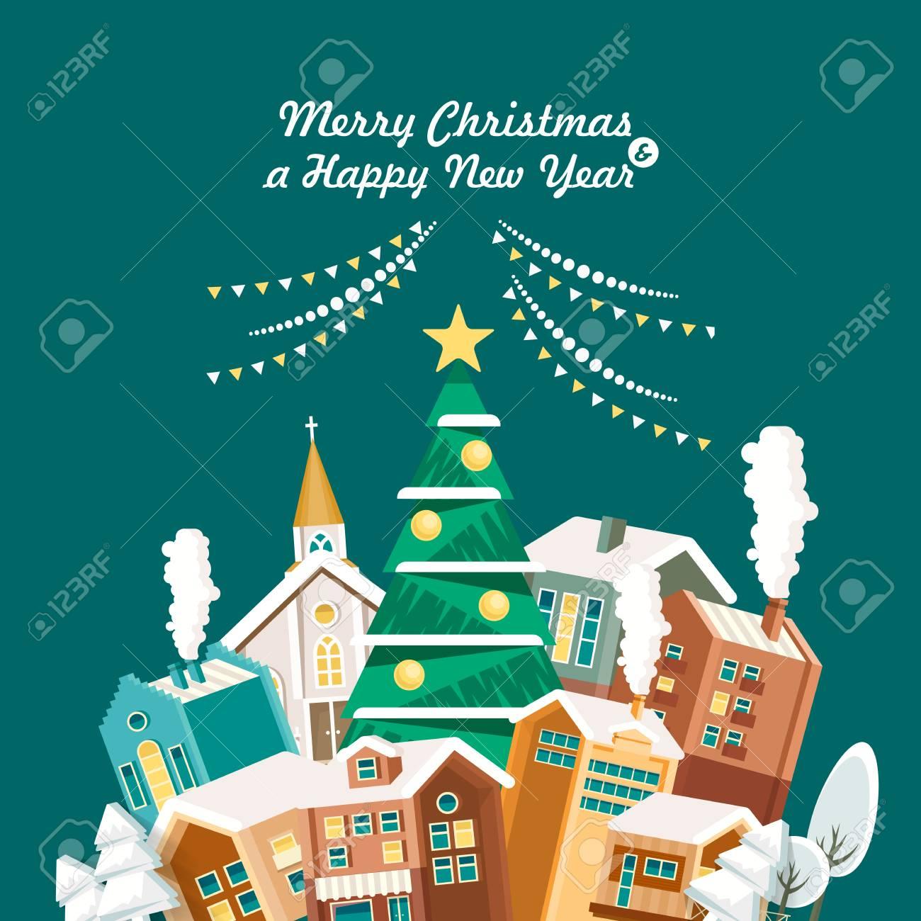 Cartoline Buon Natale E Felice Anno Nuovo.Vettoriale Buon Natale E Un Felice Anno Nuovo Cartolina D Auguri In Design Piatto Moderno Citta Natale Image 83804162