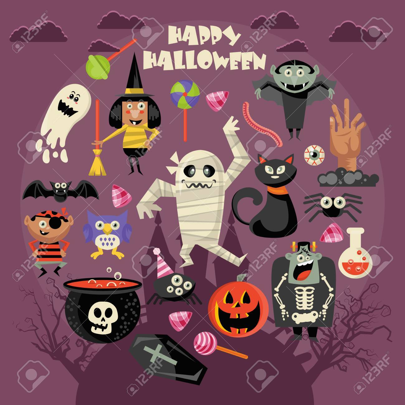 Happy Halloween greeting card illustration. - 85715145