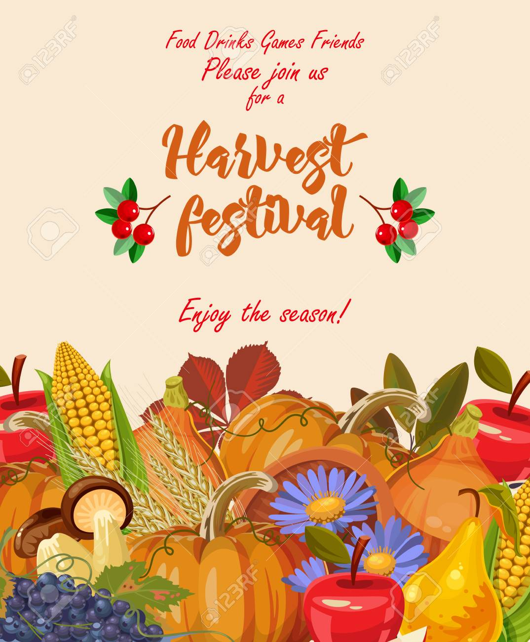 Happy Thanksgiving day. Vector greeting card with autumn fruit, vegetables, leaves and flowers. Harvest festival - 86617792