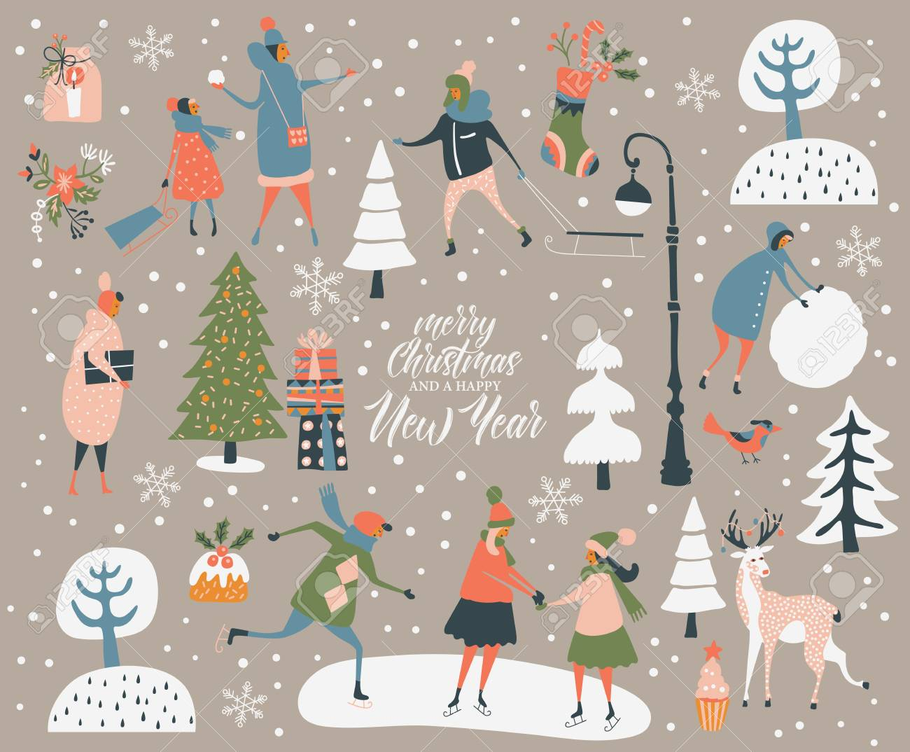 Merry Christmas and happy New year vector greeting card with winter games and people. Celebration template with playing cute people in vintage style. - 88762192