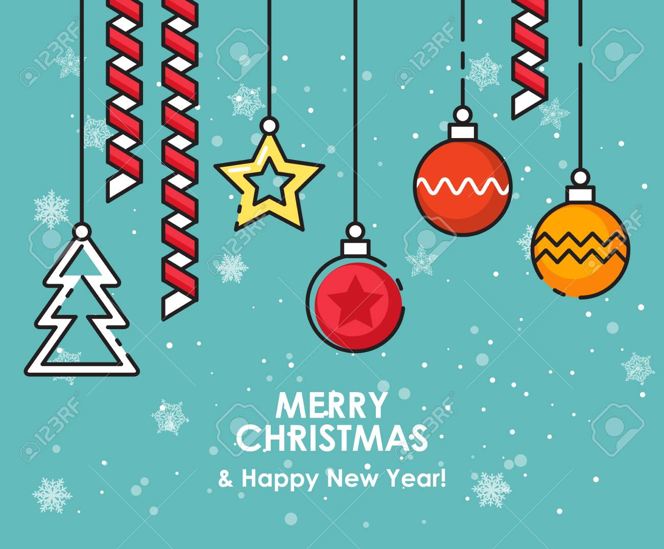 Christmas And New Year Wishes.Merry Christmas Greeting Card Happy New Year Wishes Poster