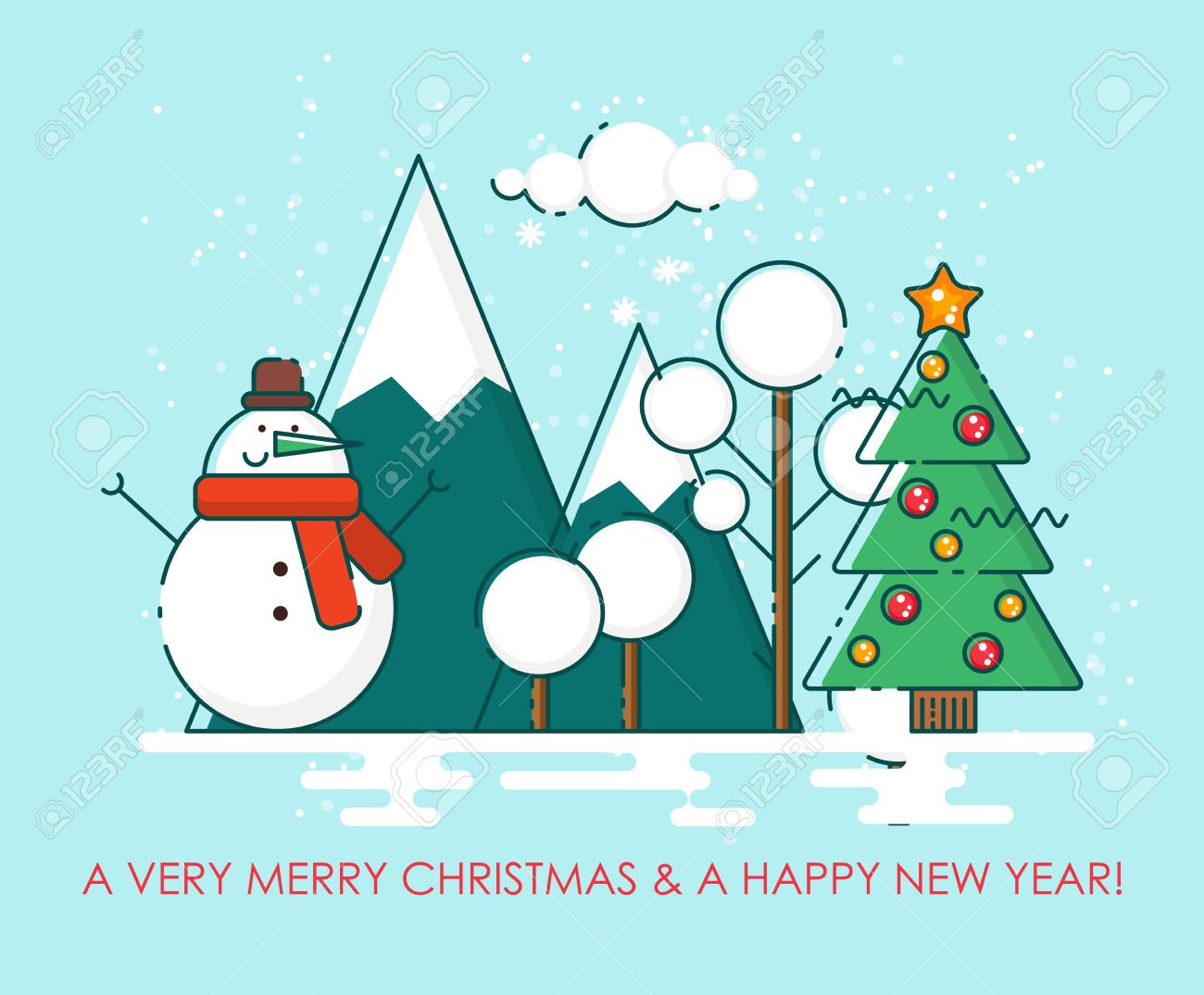 Merry Christmas Greeting Card. Happy New Year Wishes. Poster ...