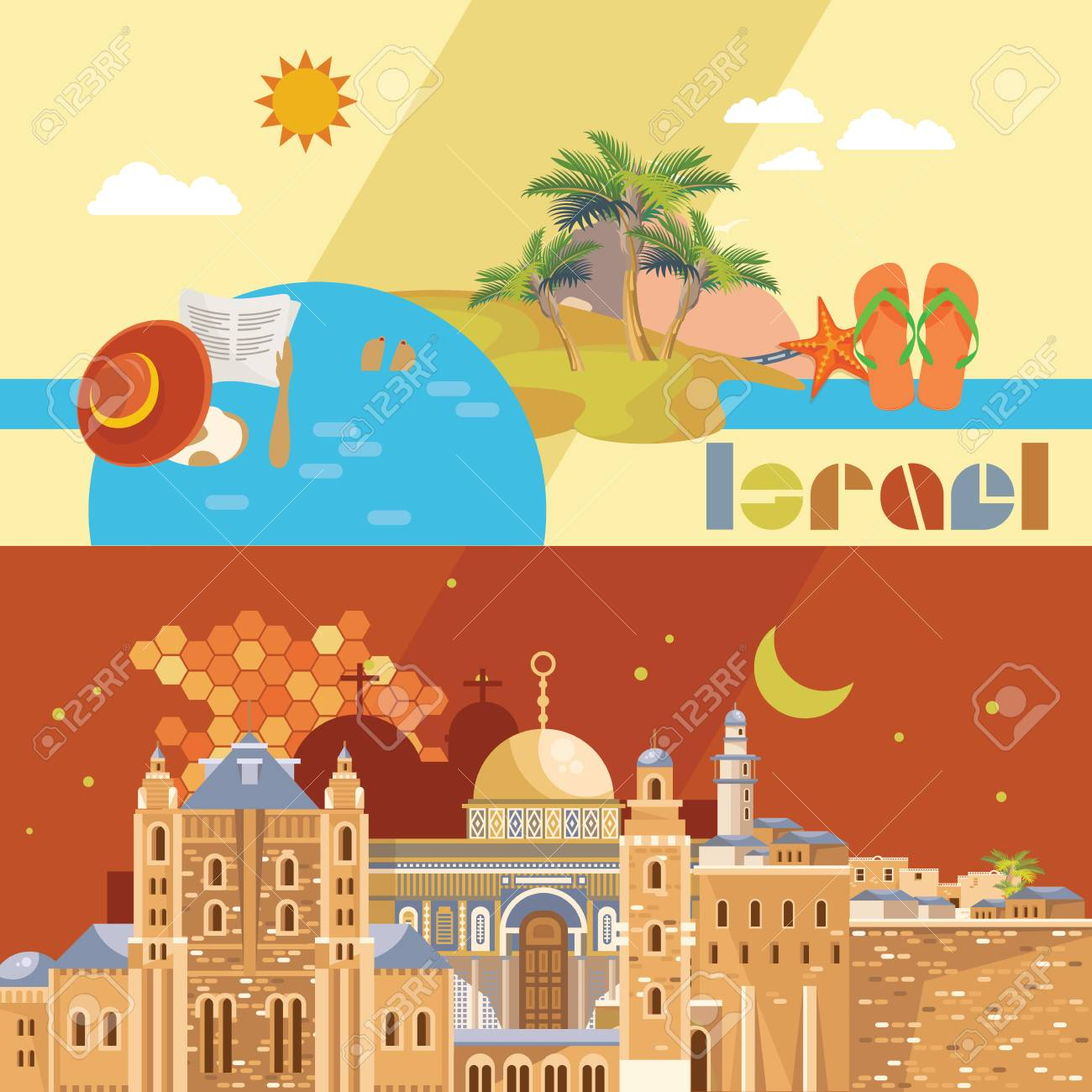 Israel Vector Banner With Jewish Landmarks Travel Poster In