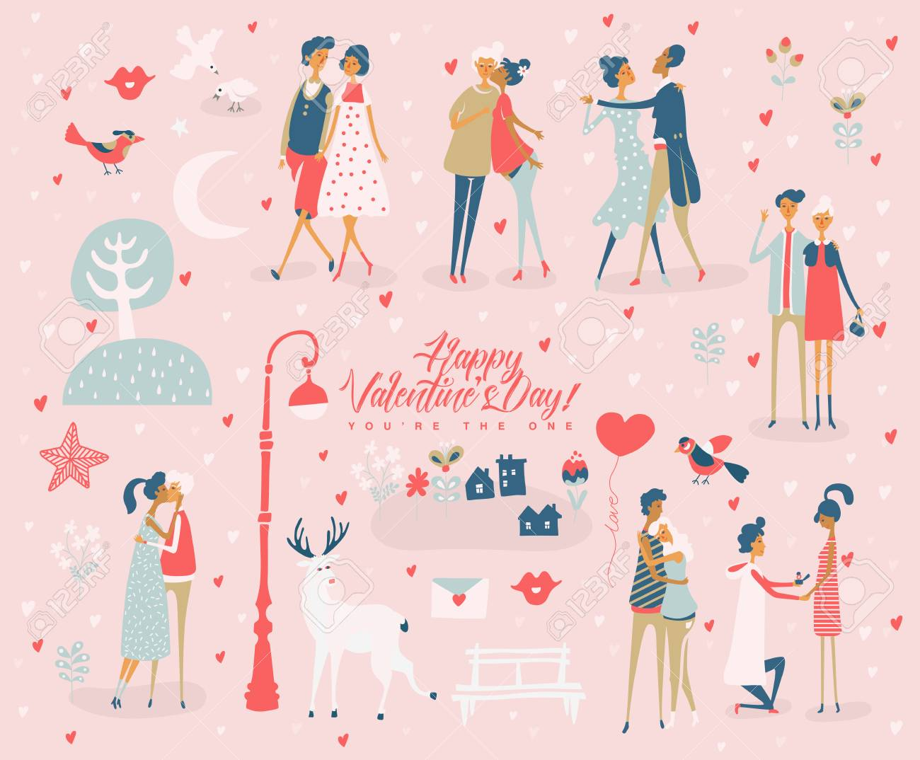 Valentine S Day Vector Greeting Card With Cute Lovers Boyfriend