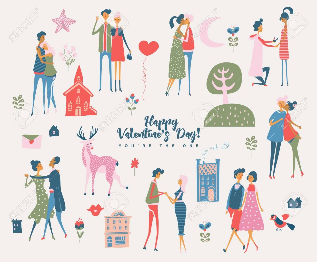Valentines Day Vector Greeting Card With Cute Lovers Boyfriend