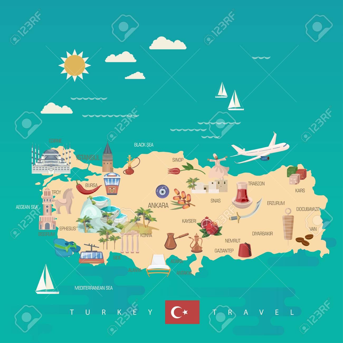 Turkey vector vacations illustration with turkish landmarks. Travel agency poster. - 94432154