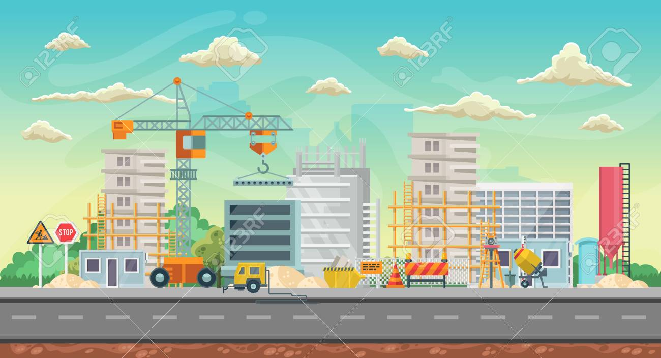 Vector game background. Landscape orientation. Panorama with construction - 105149904