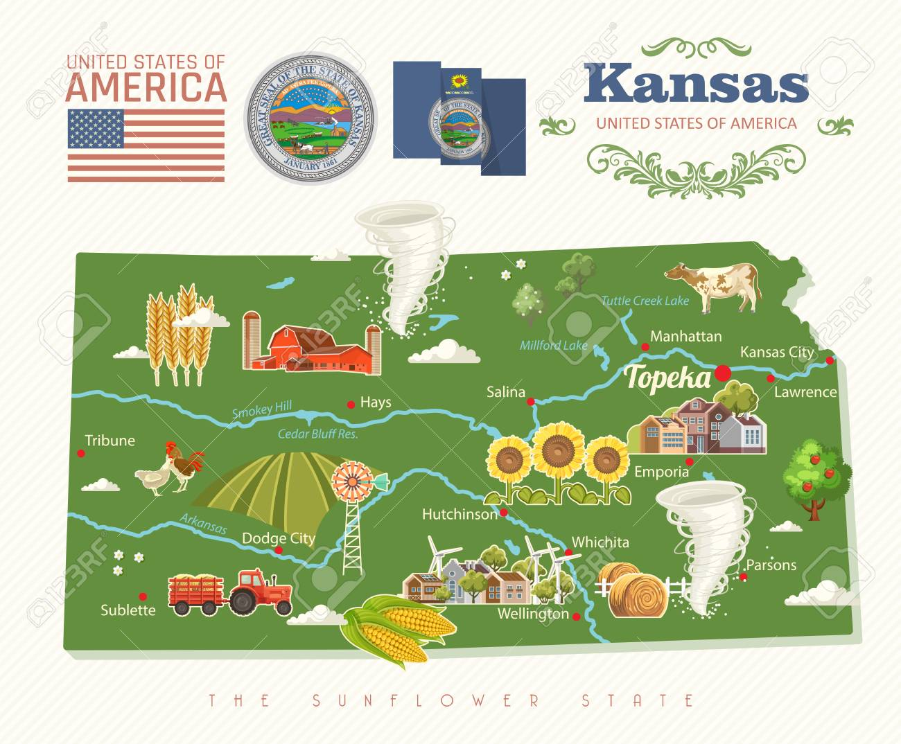 Kansas is a US state  Vector concept of tourist postcard and
