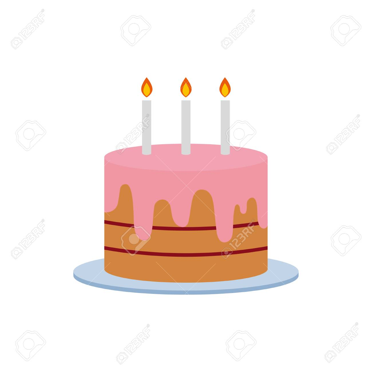 Birthday Cake Vector Illustration With Candles On White Background