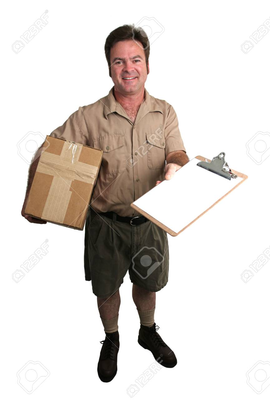 a courier delivering a package and holding out a clipboard for a signature - isolated Stock Photo - 231377