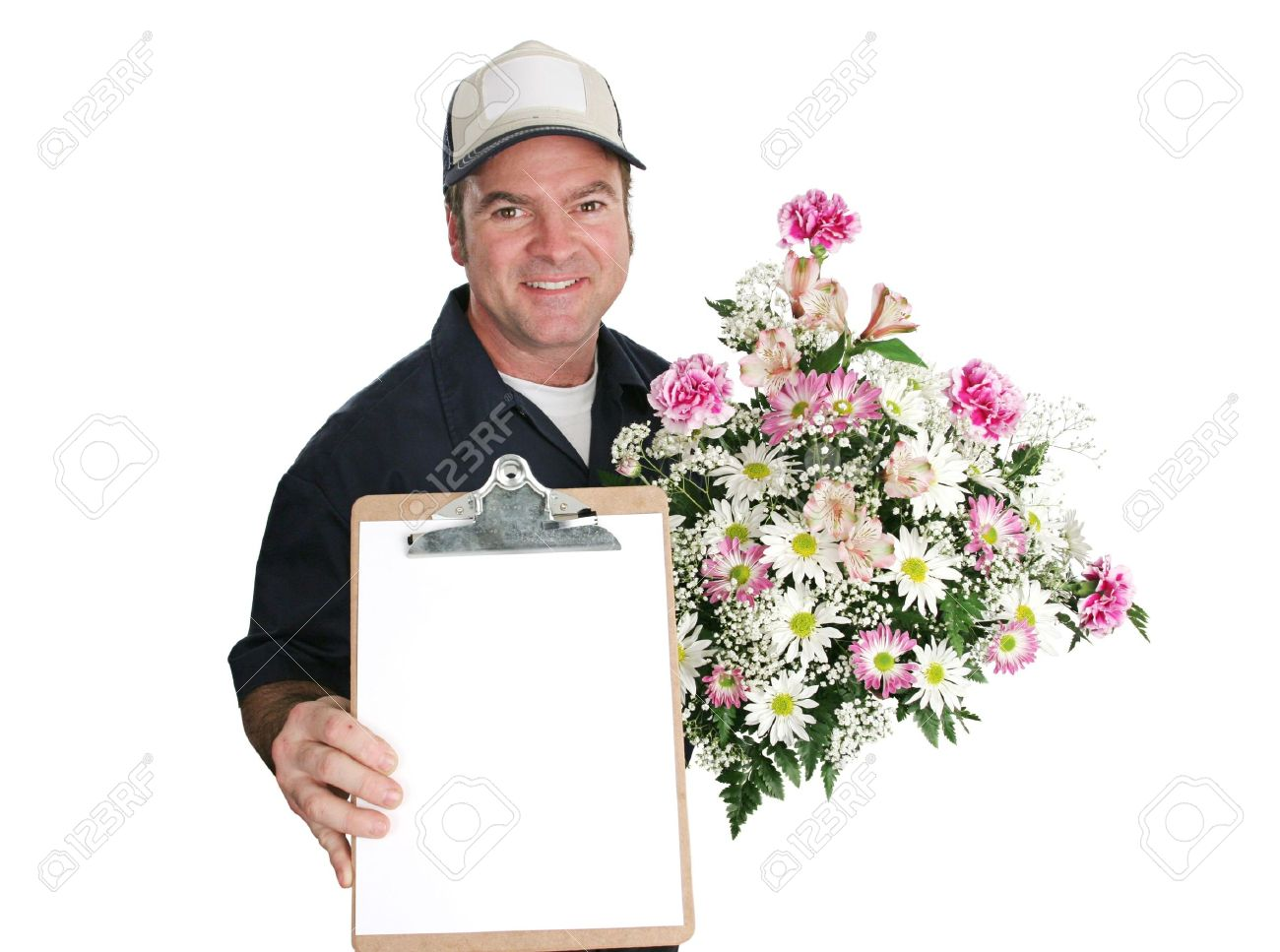 A Flower Delivery Man Holding A Beautiful Bouquet And Waiting ...
