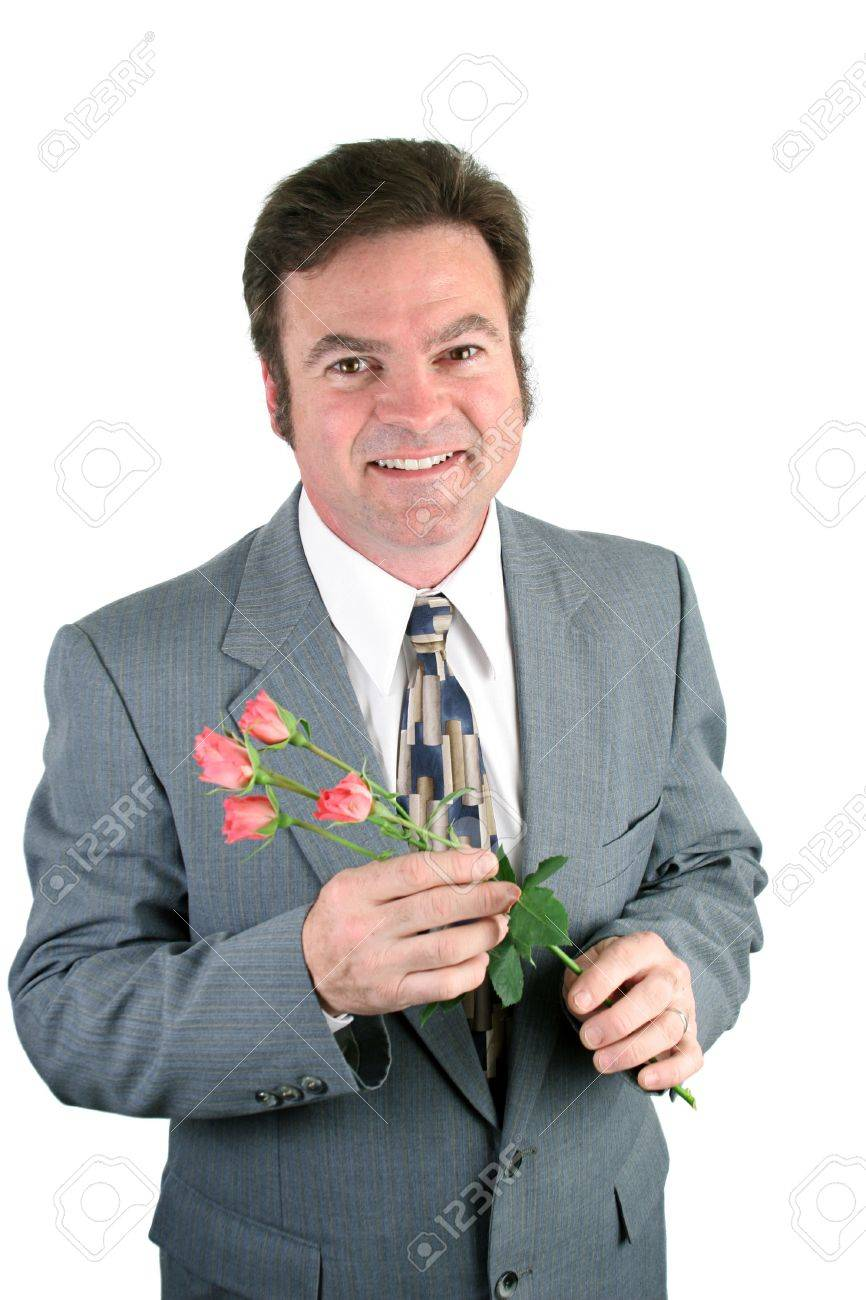 A loving husband holding roses for his sweet-. Stock Photo - 356150