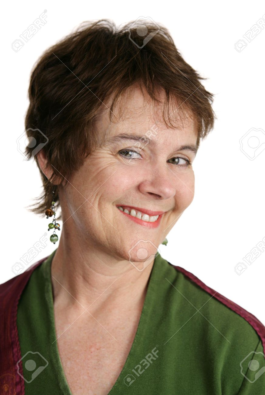 a cute middle aged woman with a short pixie haircut. white