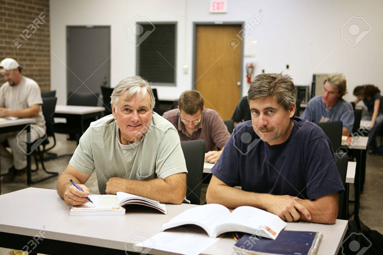 A man in his fifties back at school for job training. Stock Photo - 1718491