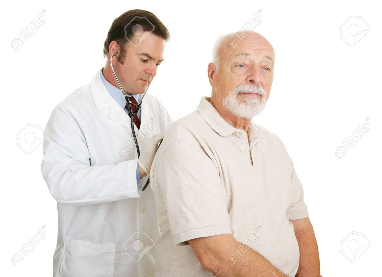 Doctor examining senior man.  Both have serious expressions.  Isolated on white. Stock Photo - 2576467