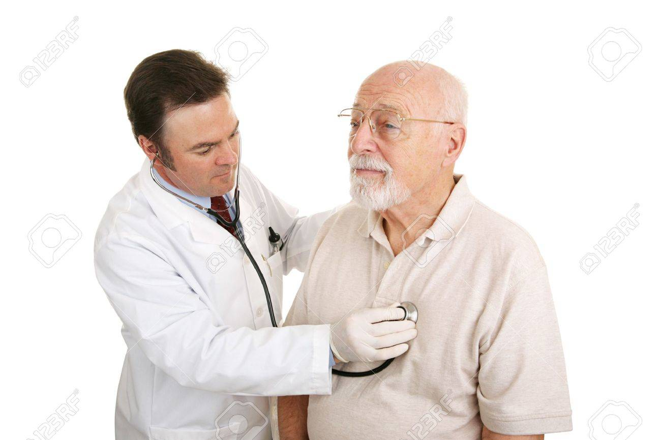 Doctor Listening to Heartbeat Doctor Listening to a Senior