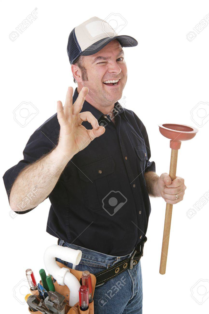 Plumber winking and giving the okay sign.  Isolated on white. Stock Photo - 2656370