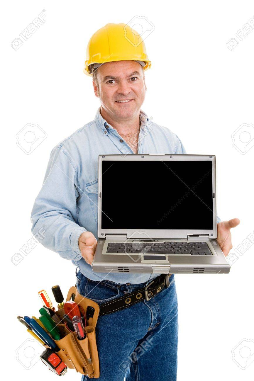 Friendly construction worker holding a laptop with black space for your message.  Isolated on white. Stock Photo - 2894623