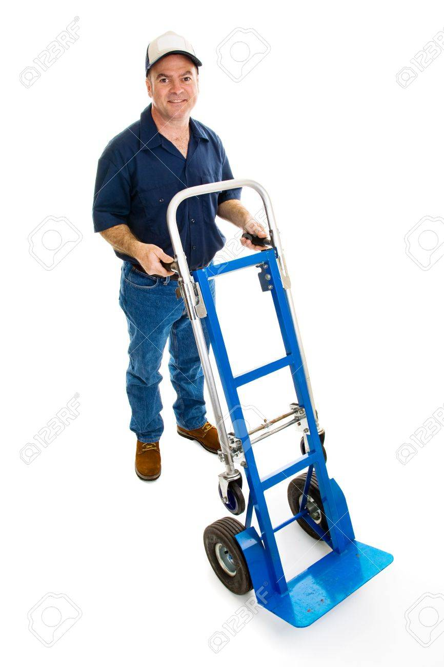 Delivery man in uniform with a hand truck.  Full body isolated on white. Stock Photo - 2975215