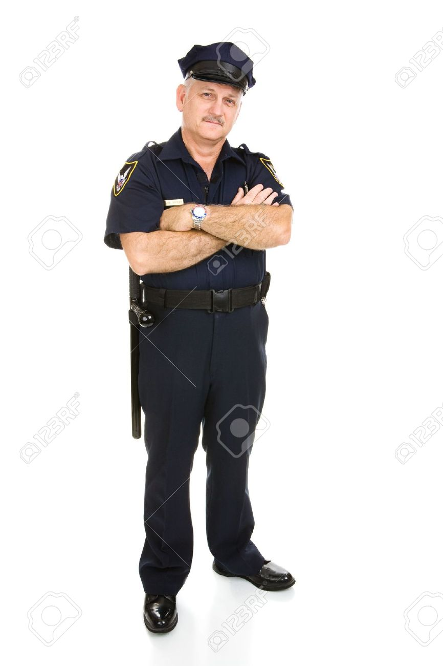 Handsome mature policeman in uniform.  Full body isolated on white.   (badge and patches are generic, not trademarked) Stock Photo - 3100647