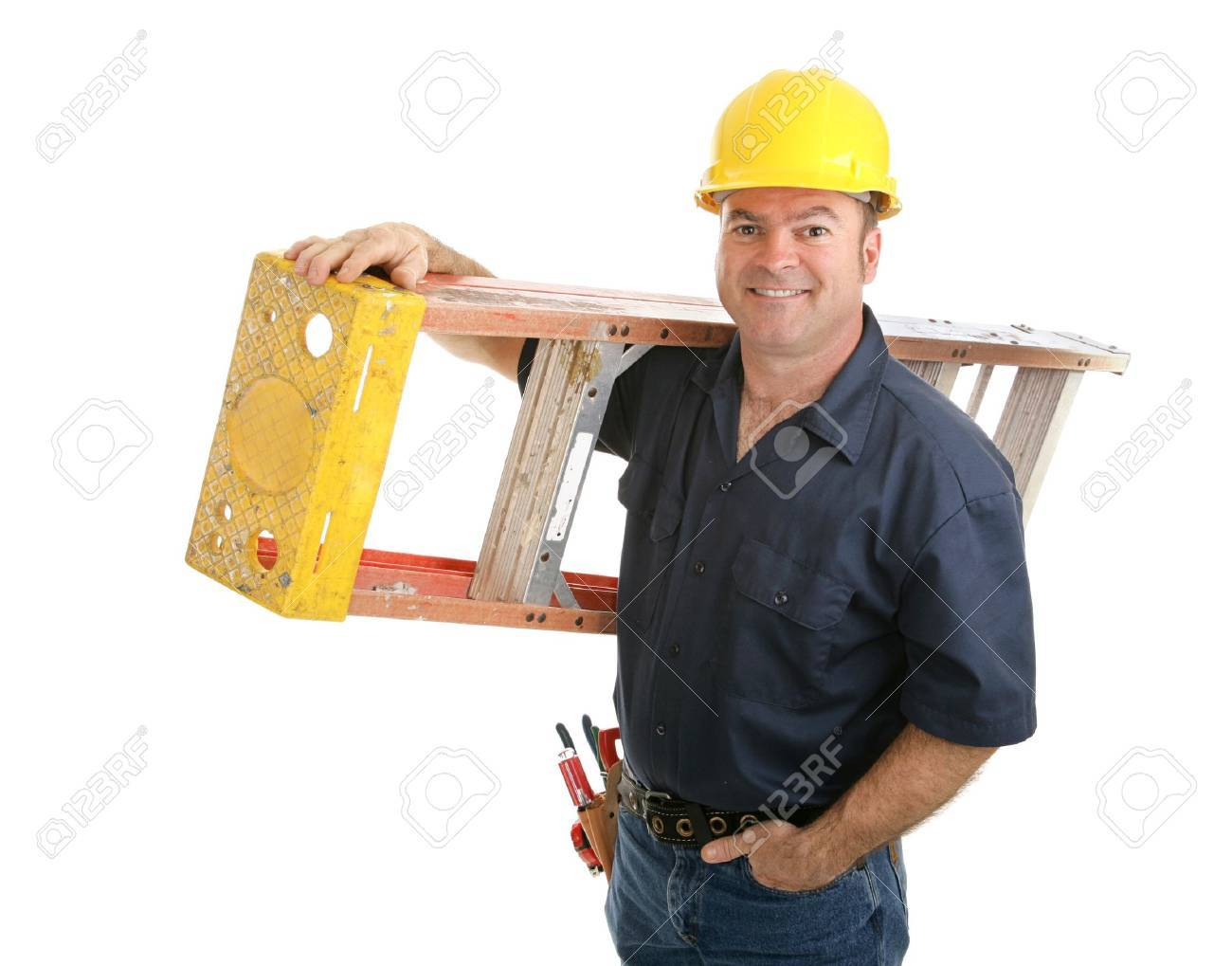 Friendly construction worker carrying ladder.  Isolated on white background. Stock Photo - 3121607