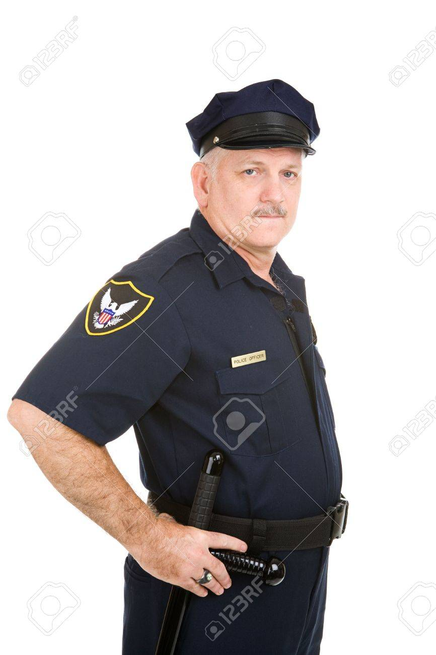 Serious looking police officer with his hand on his night stick.  Isolated on white. Stock Photo - 3235009
