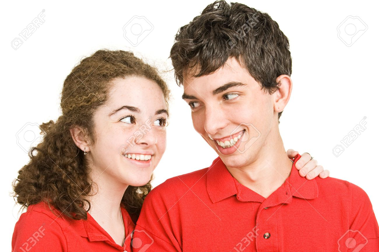 Cute teen couple in love against a white background. Stock Photo - 3712006
