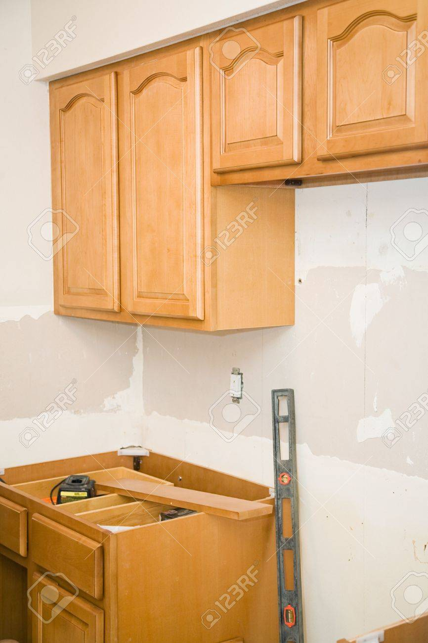 Astonishing Kitchen Remodeling In Progress Solid Maple Cabinets Are Being Home Interior And Landscaping Elinuenasavecom