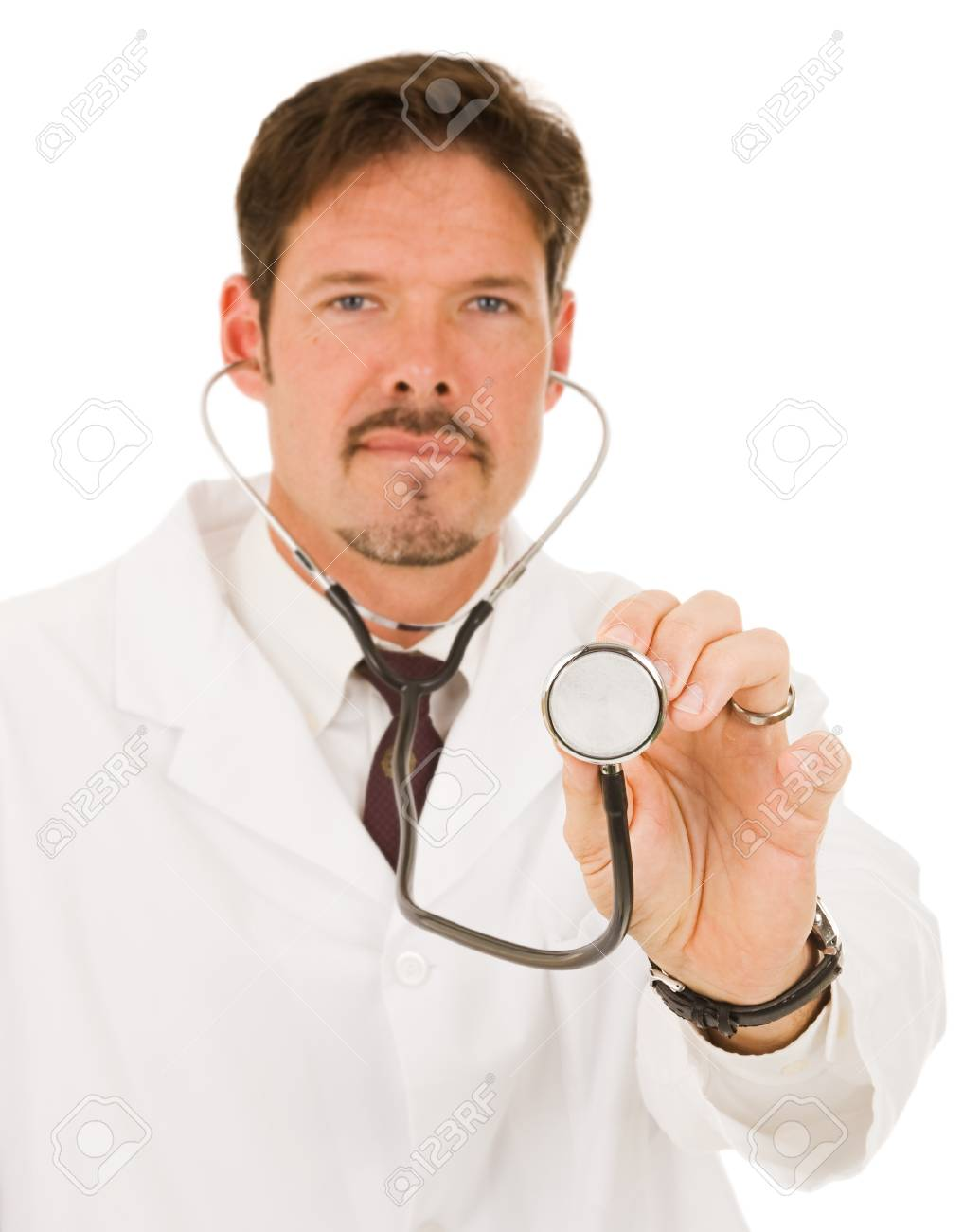 Doctor holding out his stethoscope.  Shallow depth of field with focus on hand holding the end of stethoscope. Stock Photo - 4254103