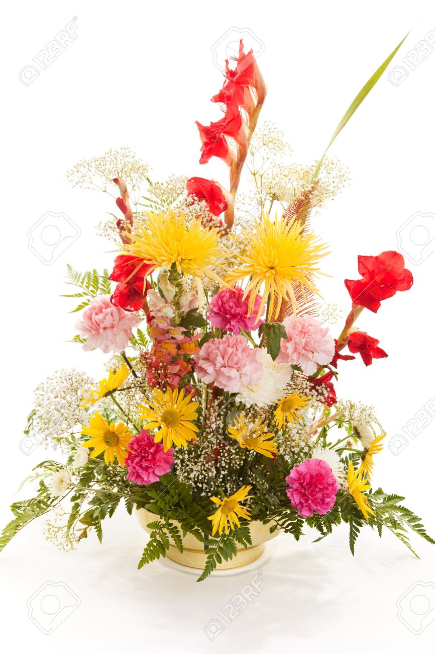 Beautiful Bouquet Of Spring Flowers Isolated On White Background