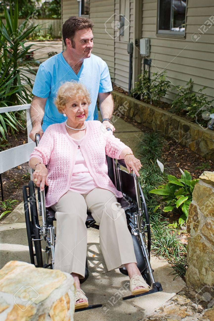 Disabled senior woman nervous about entering a nursing home. Stock Photo - 5023120