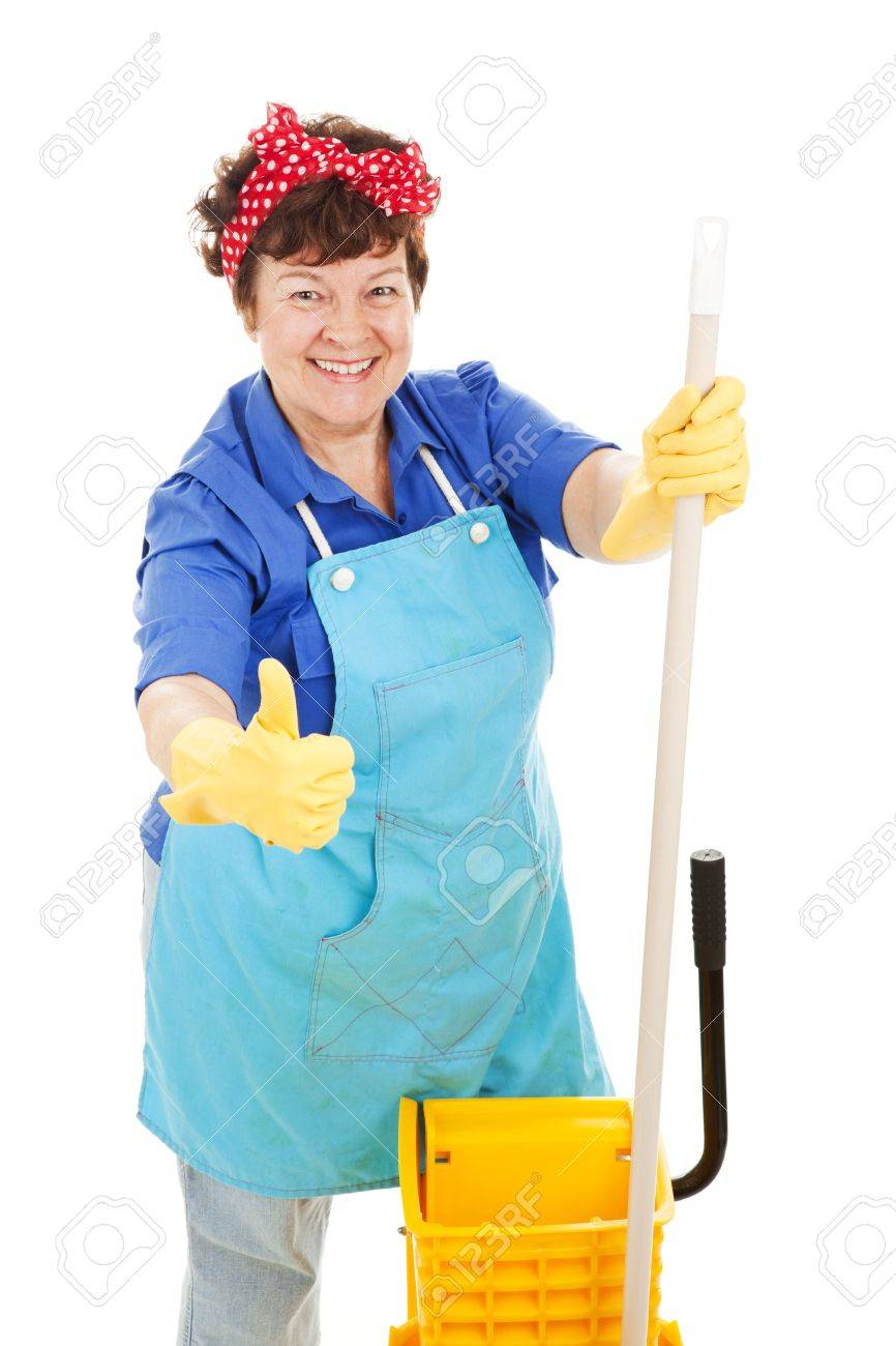 Maid holding her mop and giving a thumbs up for cleanliness.  Isolated on white. Stock Photo - 5562890