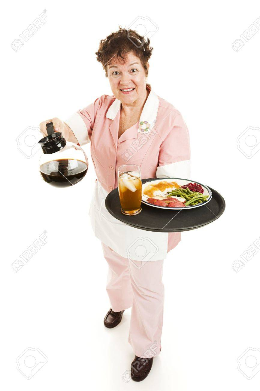 Friendly waitress bringing dinner and coffee for you. Full body isolated on white. Stock Photo - 6676091