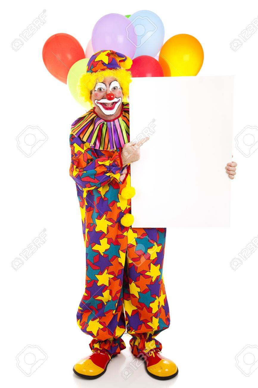 happy clown points to blank sign ready for text full body