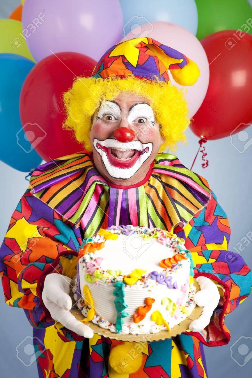 Fine Crazy Clown With Balloons Holding A Birthday Cake Stock Photo Funny Birthday Cards Online Inifodamsfinfo