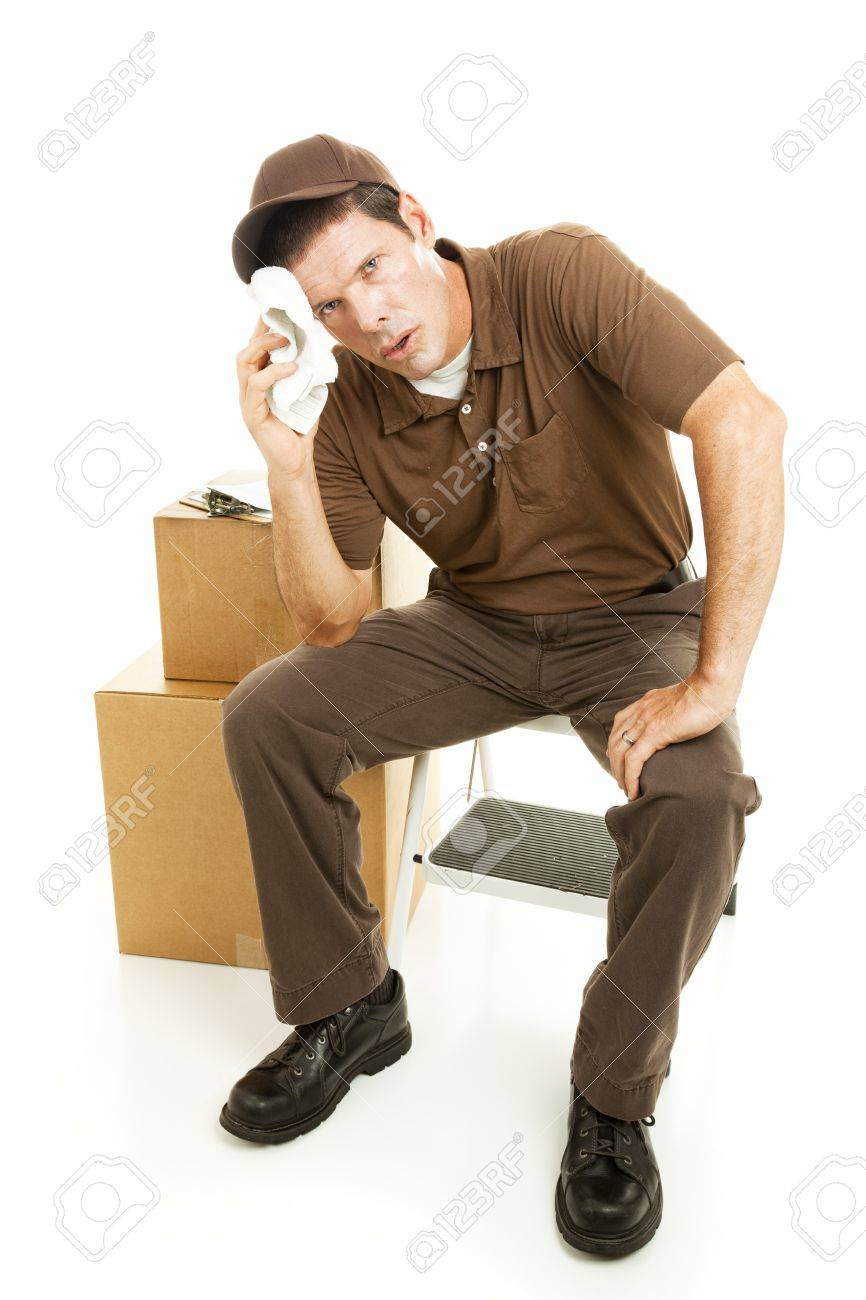 Exhausted mover sitting down resting.  Full body isolated on white. Stock Photo - 7905868
