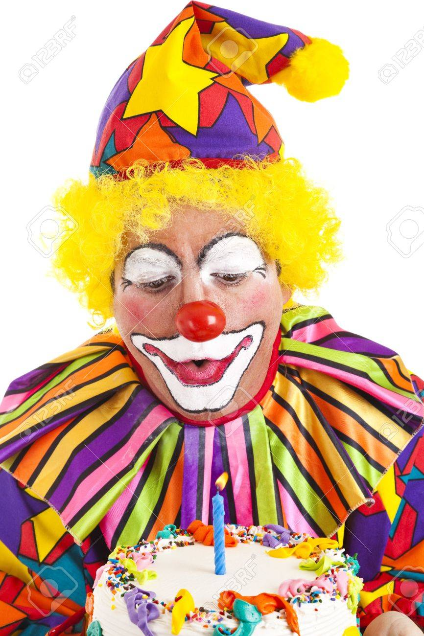 Strange Clown Makes A Wish And Blows Out The Candle On His Birthday Cake Funny Birthday Cards Online Inifodamsfinfo
