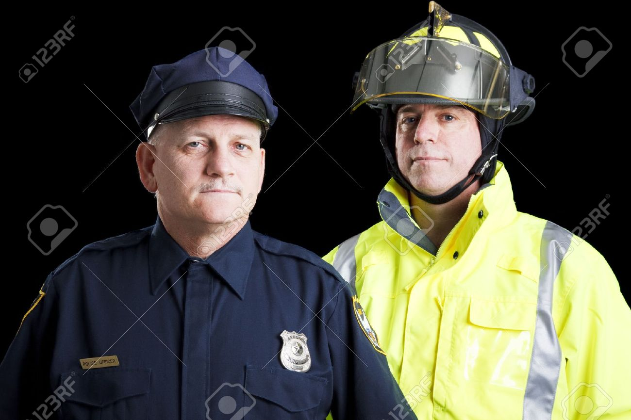 Police officer and fire fighter portrait on black. Stock Photo - 8264012