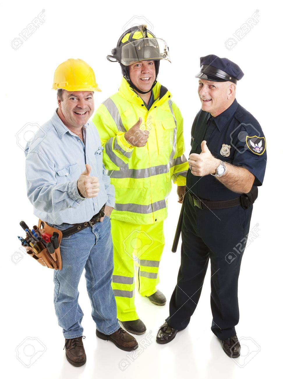 Group of blue collar workers - construction worker, fireman, police officer - giving thumbsup sign.  Full body isolated. Stock Photo - 9418921