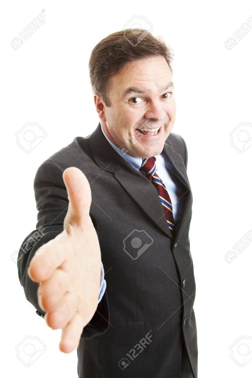 Pushy salesman with an oversized grin, coming in for a handshake.  Isolated on white. Stock Photo - 9969147