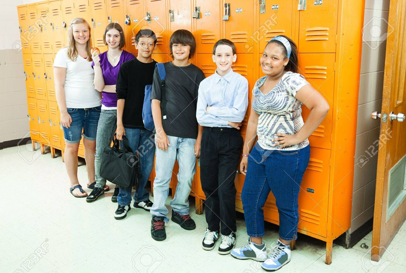 Group of diverse high school students by the school lockers. Stock Photo - 9969448