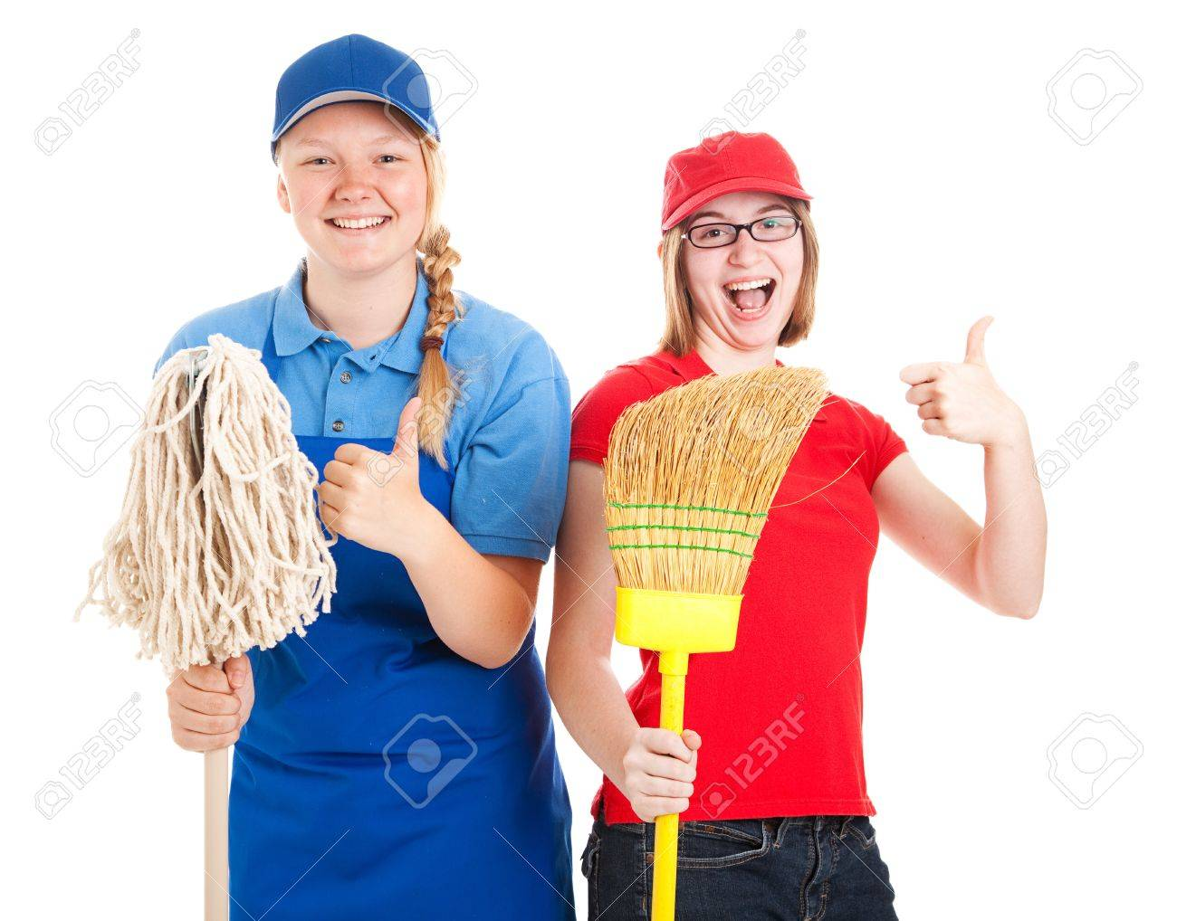enthusiastic teenage workers their first jobs giving thumbs enthusiastic teenage workers their first jobs giving thumbs up isolated on white stock