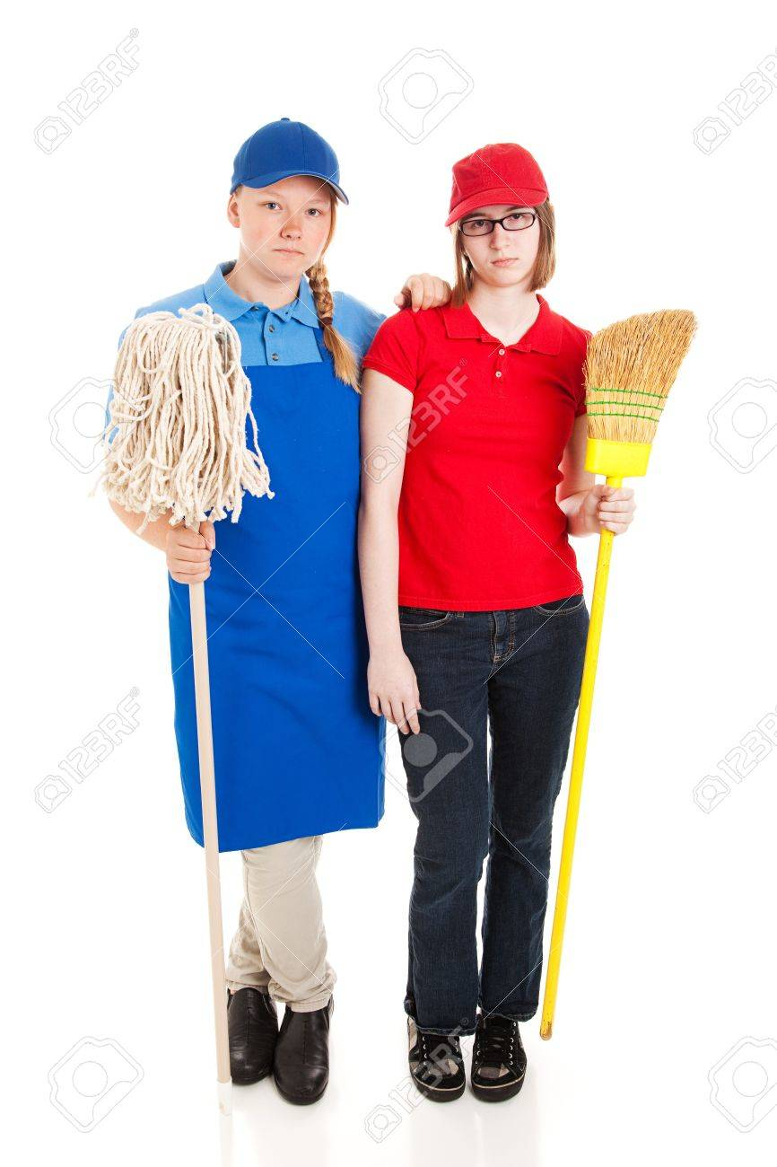 two teenage girls or young adults working manual labor jobs and stock photo two teenage girls or young adults working manual labor jobs and not happy about it full body isolated on white