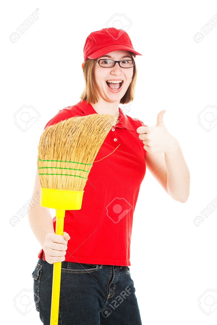 teenage girl holding a broom excited about her first job stock photo teenage girl holding a broom excited about her first job isolated on white