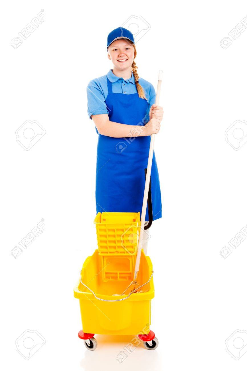 friendly smiling teenage girl in a uniform a mop and bucket friendly smiling teenage girl in a uniform a mop and bucket first