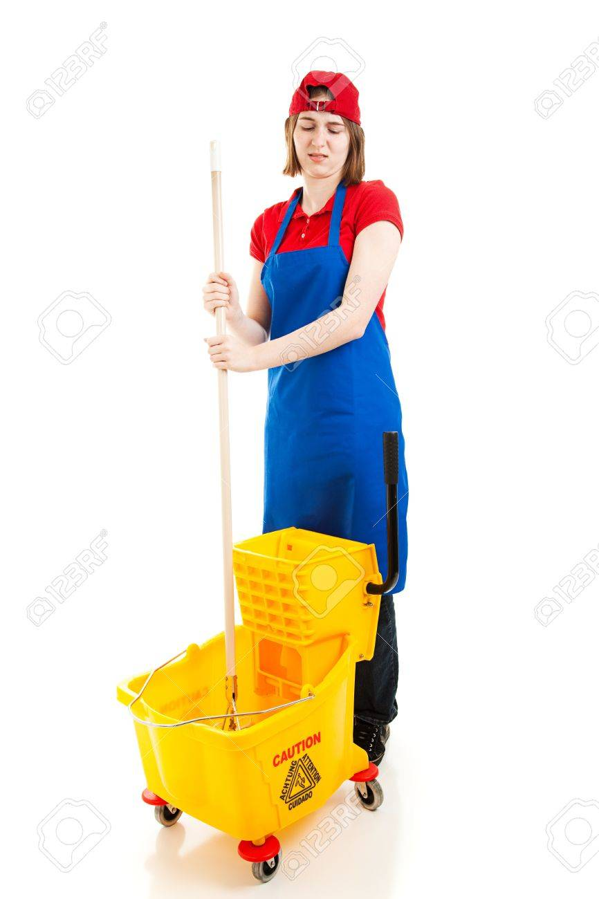 teenage worker disgusted by her job having to mop up full stock photo teenage worker disgusted by her job having to mop up full body isolated on white