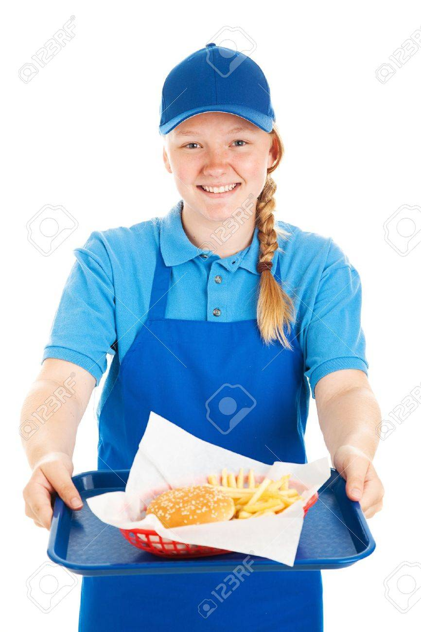 food server stock photos pictures royalty food server food server friendly teenage fast food worker serving a burger and fries meal a